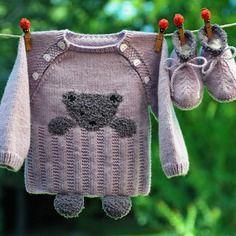 Layette ensemble 3 mois ourson brassière et chaussons violet et gris neuf tricoté main