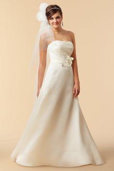 Satin and Organza Strapless A-line Wedding Dress
