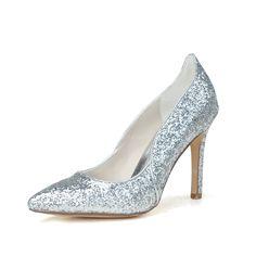 Women's Closed Toe Pumps Stiletto Heel Sparkling Glitter Wedding Shoes
