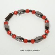 Lovely Magnetic Black Red Bracelet 3X Power Black Twist Beads with  Round Red Beads and  5000 Gauss Black Clasp available from D & P Creations online and local.  $18.95