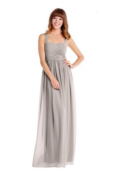 Donna Morgan 'Bailey Dress' in Sterling. This gray gown features a pleated floor-length skirt in stunning chiffon. This darling long style features wide straps to provide extra support, a sweetheart neckline, and ruched bodice. Discover more bridesmaid dresses to rent at vowtobechic.com