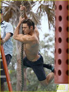 Zac Efron Goes Shirtless for Tarzan-Like 'Baywatch' Moment!