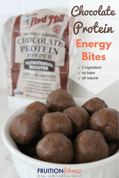 2 ingredient chocolate protein energy bites with Bob's Red Mill Nutritional Booster Protein Powder
