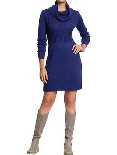 Cowl-Neck Sweater Dress with boots. Add a pair of tights or leggings, and a belt to dress it up. - Old Navy