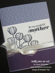 Mother's Day card using Blessed Easter stamp set and Decorative Dots embossing folder… Stampin' Up!® - Stamp Your Art Out! by maggie Card Making Inspiration, Making Ideas, Fathers Day Cards, Scrapbook Cards, Scrapbooking, Flower Cards, Creative Cards, Homemade Cards, Stampin Up Cards