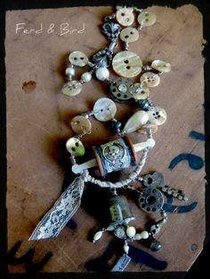 Custom Necklace Sewing Thimble Bobbin Assemblage Ferd & Bird Jewelry