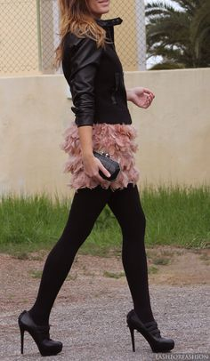 blush feather & black