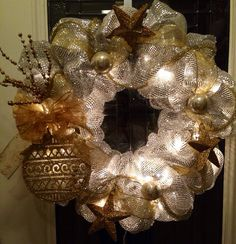 Silver Gold Mesh Christmas Wreath on Etsy, $65.00