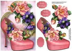 Beautiful Summer Blooms Shoe On Golden Frame on Craftsuprint designed by Anne Lever - This lovely topper features a gorgeous pink shoe and is embellished with beautiful summer blooms, on a fancy golden frame. It has decoupage, two greetings and a blank greetings tile. - Now available for download!