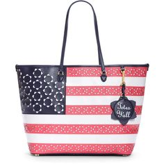 Draper James - Limited Edition American Flag Tennessee Tote ($195) ❤ liked on Polyvore featuring bags, handbags, tote bags, leather handbags, colorful tote bags, perforated tote, white leather handbags and white leather tote