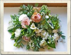"""Lilac symbolizes """"1st Love"""" Rosemary, """"Remembrance""""  Sage, Longevity, Wisdom and Health  Roses are of, course so associated with weddings that they mean, """"Happy Love"""" in general, with Soft pink ones symbolizing """"Admiration"""" and white roses, """"Innocence and Purity"""" Finally, Stocks mean, """"Lasting Beauty and Health""""."""