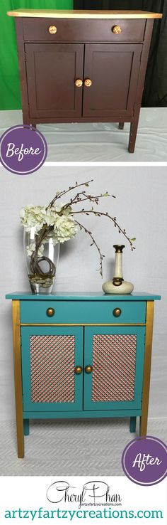 I painted this $6 thrift store hutch as a one-day DIY project. Check out the furniture before and after. Now it's  an interesting piece of furniture with personality! Learn how to decoupage furniture. BY Cheryl Phan of ArtzyFartzyCreations.com
