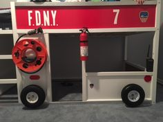 Corrine put together a FDNY fire truck bunk bed from the IKEA KURA bed Cool Bunk Beds, Bunk Beds With Stairs, Kids Bunk Beds, Beds For Boys, Fireman Room, Firefighter Bedroom, Firefighter Tools, Volunteer Firefighter, Fire Truck Bedroom
