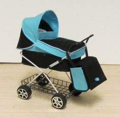 Hand made designer prams - turquoise or green | ELF Miniatures