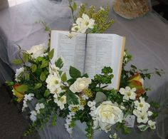 Floral arrangement with Bible