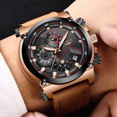 f49c46108aa 2018 LIGE Pánské hodinky Obchodní Nejlépe Luxusní hodinky Quartz Hodinky  Muži Kožené šaty Vodotěsné sportovní chronografy