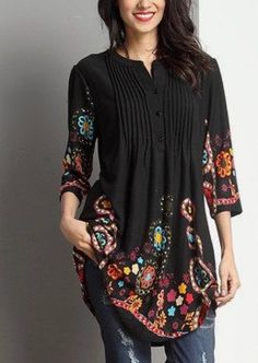 Love this Black Garden Notch Neck Pin Tuck Tunic by Reborn Collection on Denim Fashion, Boho Fashion, Fashion Outfits, Womens Fashion, Fashion Clothes, Mode Hijab, Mode Style, Designer Dresses, Cute Outfits
