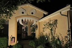Halloween house with funny monster face and teeth