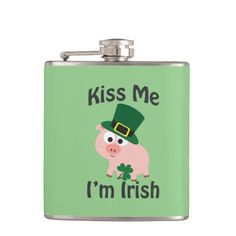 Kiss Me I'm Irish! Pig flask