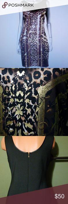 "NWT Black Metalic Sleeveless Bodycon Scuba Dress NEW! Black Bodycon dress w/leopard & metallic print*knee-length 36.5""*hidden back zipper*faux leather trim*NWT NO TRADES PLEASE.                          001 Thalia Sodi Dresses Midi"