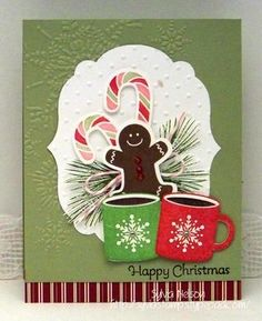 Blog-11-28   Stampin' Up! All limited edition, discontinued stamps with matching framelits.  Gina K came out with a mug set like this for her 2013 Dec card release.  You could probably find a cute gingerbread man from the Simply Charmed cricut cartridge, and Paper Trey Inc has a papermint candy cane stamp and matching die.