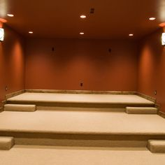 stepped media room