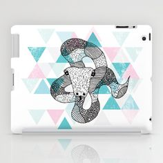 Some fashionable inspiration and new trends for your online birthday or christmas shopping spree. Geometric snake attack iPad Case by Little Smilemakers Studio - $60.00