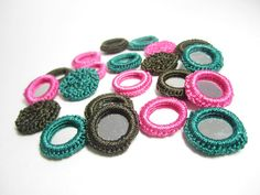 Crochet mirror beads for stitching Indian mirror by TintinBeads