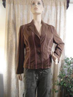 Boho Blazer Plaid Coat Size 14 100% Cotton Brown by LandofBridget