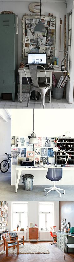 vintage and very industrial chic, from stylist johanna flyckt; and another vintage-inspired work area via bodie and fou; and a bright and cheery space to create, via convoy.