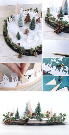 Kreativer Adventskranz mit Stickrahmen und Balsaholz