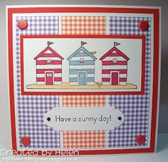 Using 'Beach Huts' from Little Claire Beach Cards, Beach Huts, Candy Stripes, Nests, Summer Beach, Surfboard, Seaside, Claire, Cardmaking