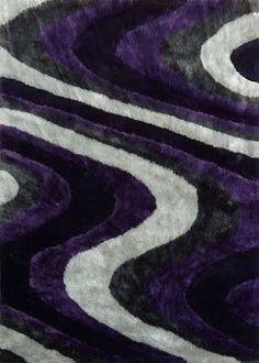 Modern Living Shag Area Rug Style 112 Gray Purple Hand Tufted Weave