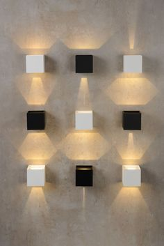 Check out these stylish and simple wall lights that will fill up an empty spot in your home or business that you dont want to add art work: White Wall Lights, Modern Wall Lights, Modern Interior Design, Interior Architecture, Praise The Sun, Applique Led, Cool Lighting, Lighting Ideas, House Doctor