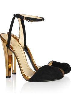 a2fec3725cb4 Gucci Metallic Leather and Suede Sandals in Gold - Lyst