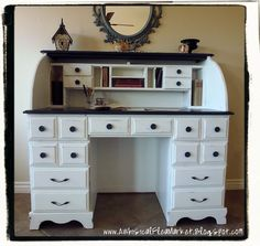 Maybe something like this for my old roll top desk...or the side table sitting in the garage...