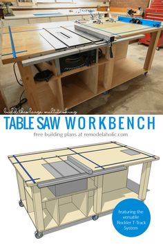 DIY Table Saw Workbench Featuring Rockler T Track System, Free Building Plan And Tutorial #remodelaholic