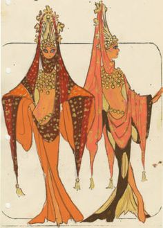 Costume design drawing, female Philistine costumes #3 and #4, Las Vegas, June 5, 1980 :: Showgirls in Jubilee