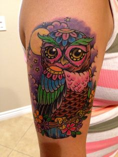 My super awesome new school owl tattoo! Thanks Sin @ Tattoo Gallery in HB.