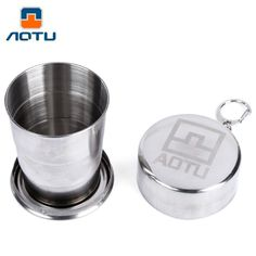 AOTU Telescopic Stainless Steel Folding Travel Cup With Buckle Three Section Outdoor Hiking Camping Equipment Tool White