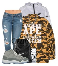 """""""Untitled #673"""" by zayani ❤ liked on Polyvore featuring NIKE, A BATHING APE and Sterling Essentials"""