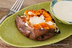 Baked Sweet Potato with Spicy Maple Creme Fraiche at http://www.theorganickitchen.org