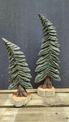 Hand Carved Wind Blown Folk Art Pine Trees  Set by GooseberryCreek