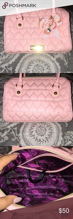 Betsy Johnson pink bag Cute and fun bag... One inside pocket on one side other has two pockets. Betsey Johnson Bags Shoulder Bags