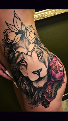 Full Women Thigh with Leo Tattoo Designs Dope Tattoos, 1000 Tattoos, Leo Tattoos, Dream Tattoos, Pretty Tattoos, Beautiful Tattoos, Body Art Tattoos, Sleeve Tattoos, Tatoos