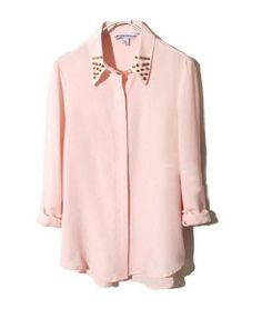 Nude Long Sleeves Chiffon Blouse with Rivets to Collar $89.40