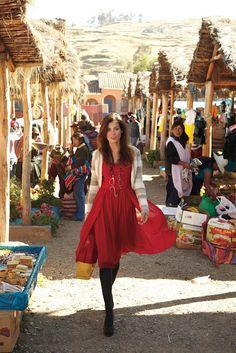 Anthropologie November 2011 - love the red flowy dress.