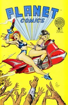 Isotrip, flying motorcycle bike car comic book cover art pulp retro futurism back to the future tomorrow tomorrowland space planet age sci-fi airship steampunk dieselpunk alien aliens martian martians BEMs BEM's Comic Book Artists, Comic Artist, Comic Books Art, Sci Fi Comics, Bd Comics, Arte Do Pulp Fiction, Dave Stevens, Comics Vintage, Planet Comics