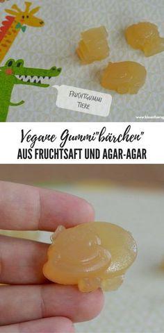 Vegane Gummibärchen / Gummitiere aus Agar-Agar und Fruchtsaft - mögen kleine Kinder sehr gerne! #vegan #gummibear