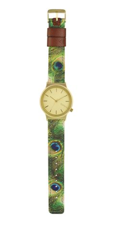 ρολόι watch with peacock print